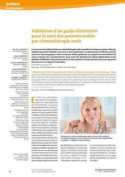 thumbnail of Article Guide d'entretien pour le suivi des patients traités par chimio orale