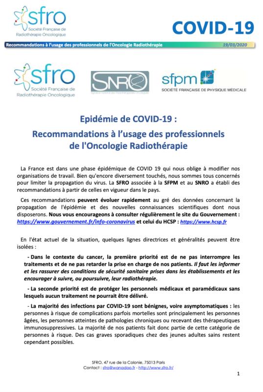 reco oncologie radiothérapie